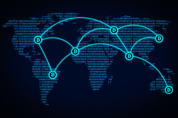 International cryptocurrency system. Bitcoin network on world map. New digital money payment system.