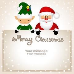 Funny postcard with Christmas Elf and Santa.
