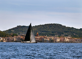 Big sailing yacht against the background of Saint-Tropez
