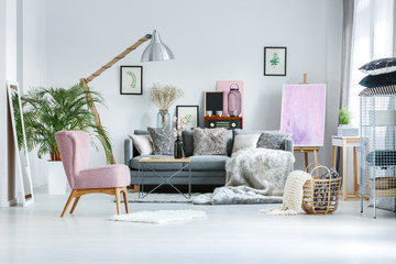 Living room with pink accents