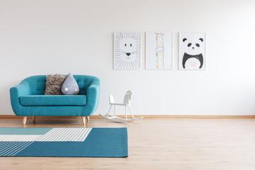 Sofa in bright kid's room