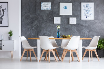 Dining room with white cupboard