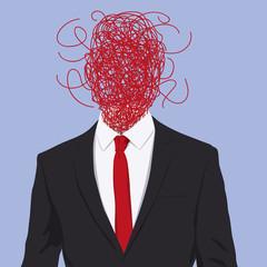 stress - dépression - concept - confusion - problème - anxiété - désordre - stresser -personnage - visage