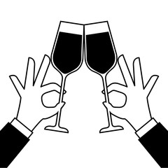hands holding wine glass make a toast