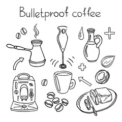 Bulletproof coffee. Set. Vector sketch