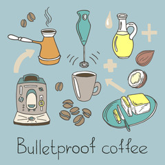 Bulletproof coffee. Color set. Vector sketch