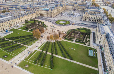 Aerial view of Louvre museum, Paris, France