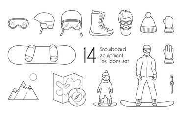 Snowboarding equipment line icons set isolated on white background. Vector winter sport illustration