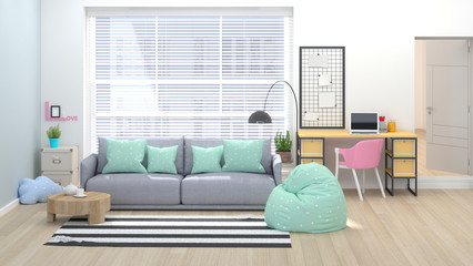 Modern living room with home office 3D illustration home interior with sofa, armchair