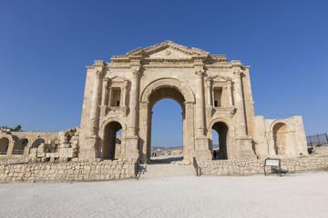 Hadrian's Arch in the ancient roman town Jerash in Jordan