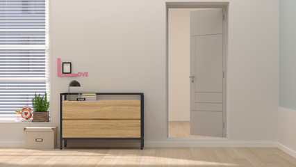 Empty room with sideboard chest of drawer 3D illustration home interior background,open the door