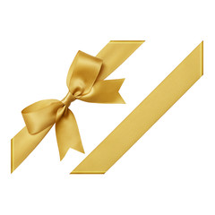 Gold bow tied using silk ribbon, cut out top view, corner
