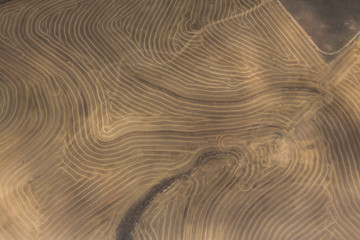 Aerial view of drought stricken cultivated farmlands