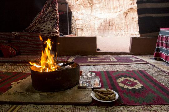 Campfire in a bedouin tent in the wadi rum desert, Jordan