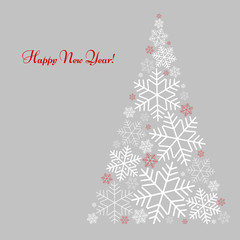 Pattern with a tree of snowflakes with text Happy New Year Winter background for New Year and Christmas Vector