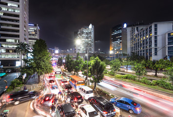 Chaotic traffic jam in Jakarta at night, Indonesia