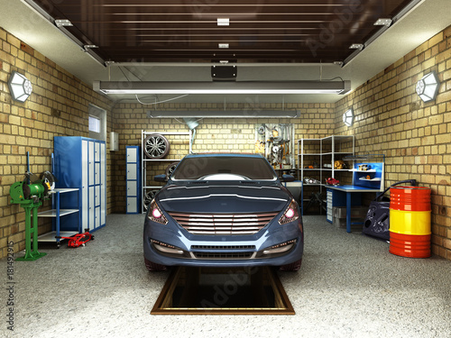 Front View of a Garage with a car 3D Interior with Opened