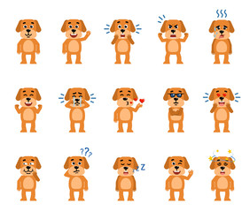 Set of funny yellow dog characters showing different emotions. Cheerful dog laughing, crying, dazed, sleeping and showing other facial expressions. Flat style vector illustration