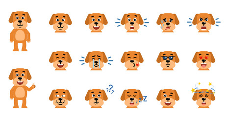 Set of funny yellow dog emoticons showing different emotions. Happy, sad, angry, dazed, sleep, shocked, tired, in love and other emotions. Flat style vector illustration
