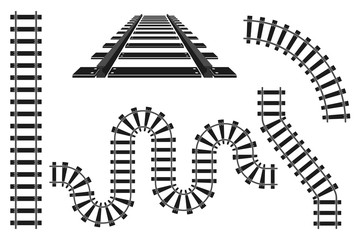 Train railway road rails constructor elements vector illustration