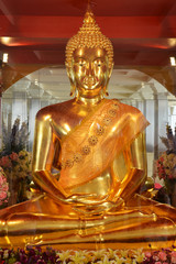 Golden Buddha statue in Religious place