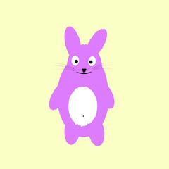 Vector illustration for Easter greeting card, invitation with white cute rabbit on sky blue background.