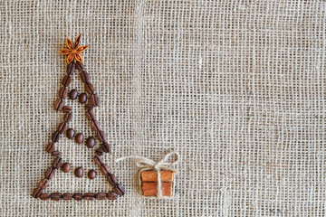 Background with coffee. Top view of coffee beans background. Christmas background with coffee.