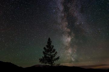 star mountains sky milky way night
