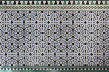 Moorish Islamic geometric patterns inside palace