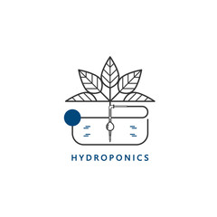 Hydroponics icon, drip irrigation. Element of design for web, business cards, brochures, garden equipment shop. Modern linear style. Vector illustration.