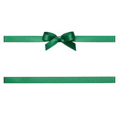 Green bow tied using silk ribbon, cut out top view