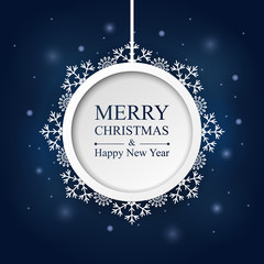Merry christmas and happy new year background with hanging round paper