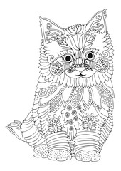 Kitten. Hand drawn picture. Sketch for anti-stress adult coloring book in zen-tangle style. Vector illustration  for coloring page.