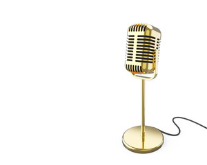 Vintage metal microphone on a stand