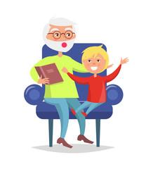 Elderly Man in Glasses Reading Book to Grandson