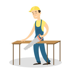 Worker with saw.