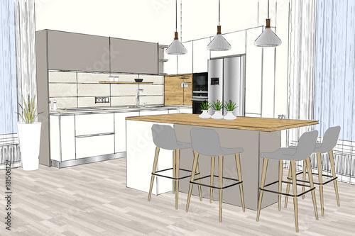 3d Rendering Modern Kitchen Design In Light Interior Kitchen