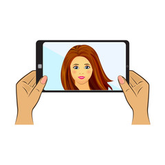 Nice woman making selfie. Vector flat design illustration isolated on white background.