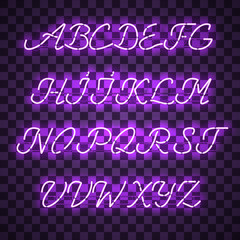 Glowing Purple Neon Script Font with uppercase letters from A to Z with wires, tubes, brackets and holders. Shining and glowing neon effect. Vector illustration.