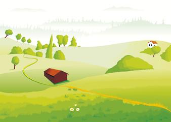 Papiers peints Blanc Paysage campagnard de collines et de champs