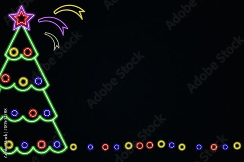 Christmas decorations . Neon style. Frame . dark background