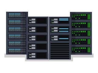 Flat vector illustration concept server room data center