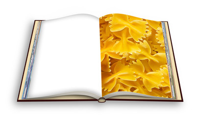 "Italian pasta cookbook, called ""butterflies"" for its particular form - 3D render photo book concept image - I'm the copyright owner of the images used in this 3D render."