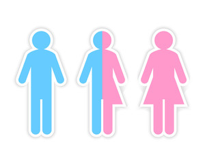 Third gender and sex concept made of half male and half female pictogram. Sticker and design element.