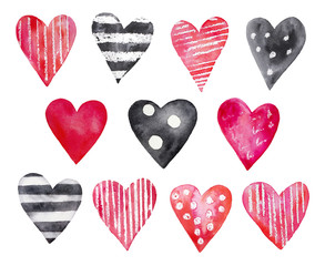 Set of various watercolor hearts drawing. Colorful bright red, pink, polka dots, striped black and white, text, lines, strips. Hand drawn watercolour paint, isolated on white background.