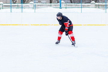 Ice hockey skater with stick on rink. Image with copy space