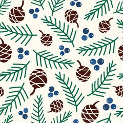 Seamless vector pattern with cones and juniper berries.