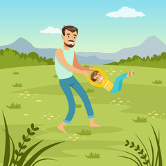 Father rotating his son on nature  dad and son playing together on meadow, family leisure flat vector illustration