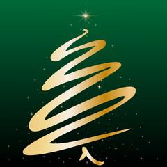 Weihnachten - Goldener Tannebaum abstrakt