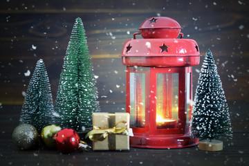 Christmas card with vintage Christmas lantern